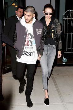 March 26, 2016 Hadid headed out to dinner on the arm of her musician beau, Zayn Malik, looking every bit the rock star's girlfriend in a studded leather Burberry jacket, gray jeans and black leather Everlane kicks.