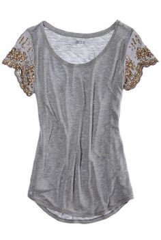 Gold detail embellished sleeve top. Dress up or go casual. Stitch fix fashion trends. Stitch fix fall 2016.