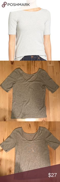 """NWT chorus scoop-back tee NWT!! A wardrobe must-have: This fitted tee is lightweight and stretchy and has a low-key sexy scoop back that's totally """"bra-able"""" (a design-team term for: go ahead and wear your regular underthings).    Fitted. Cotton/wool/spandex. Hand wash Madewell Tops"""