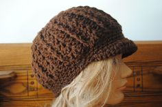 Free Crochet Newsboy Hat Pattern - (note to self: made it in 2.5 hours. Added a row of reverse single crochet around edge.)