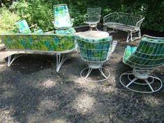 Mid Century Patio Chairs | Mid Century Modern Retro 9pc Homecrest Patio Set  Wrought Iron Eames