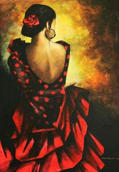 Victoria Stoyanova, Bulgarian painter, was born in Sofia, Bulgaria. Her colorful fantasy paintings reflect the mystery of female beauty, setting light and darkness in harmony and art where human warmth and wisdom dominates. Frida Art, Spanish Dancer, Illustration Art, Illustrations, Fantasy Paintings, Abstract Painters, Mexican Art, Dance Art, Belle Photo