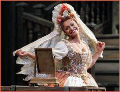 Costume the Marriage of Figaro by Mozart. Photo of soprano Daniella Di Niese.