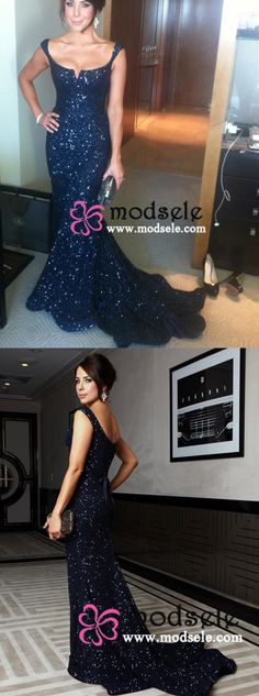 Gorgeous Mermaid Long Navy Sequined Prom Dress with Sash