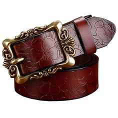 Wide leather women's belt.