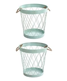 Look at this #zulilyfind! Green Steel Basket - Set of Two #zulilyfinds