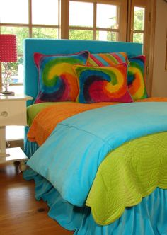 Teen bedding in bright colors and tie dye