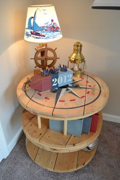 Double Wooden spool Nautical Wooden Spool Table Bookcase
