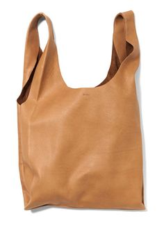 BAGGU   M Leather Bag   The perfect tote in Nutmeg, Black, and Gold