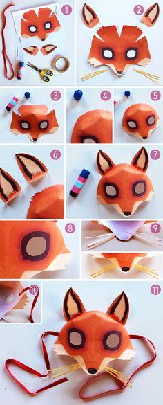 Criação de máscara passo-a-passo - Modelo de máscara de raposa fácil de baixar!