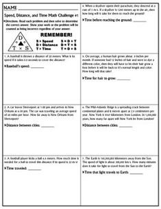 4th grade Math Worksheets Calculating speed Teaching