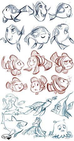 Finding Nemo Sketches by sharkie19 on DeviantArt