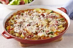 Tender vegetables combine with mozzarella cheese and pasta sauce in this skillet-simple take on meatless lasagna.