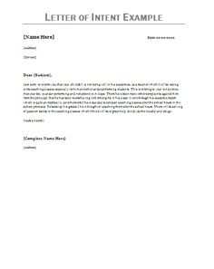 Free Letter of Intent Template | Sample Letters of Intent | D.I.Y. ...