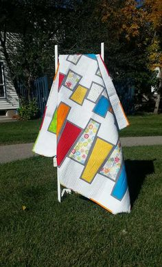Geometeic Lap Quilt - Bright  Trapezoid Quilt - Modern Quilt
