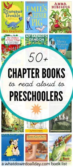 50 Chapter Books for Preschoolers and 3 Year Olds List of preschool chapter books suitable to read to 3 and 4 year old kids.List of preschool chapter books suitable to read to 3 and 4 year old kids. Preschool Books, Preschool Activities, Activities For Kids, Books For Preschoolers, Craft Books, Books For Toddlers, Preschool Checklist, 3 Year Old Preschool, Preschool Library