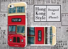 Hong Kong Style Red Bus - #Apple #Iphone5 Designer Case - #UltraCase #iphone5case #bus #Hongkong