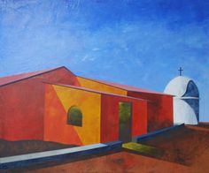 "Past the House of Worship   Acrylic on Canvas   30"" X 36""   2011  © Indrajeet Chandrachud"