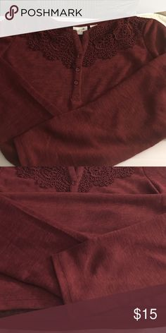 ❤❤❤Beautiful LACE Buttoned Top❤❤❤ NWOT Long Sleeve Top. Cute burgundy. Sz XL. Smoke and pet free. #lacetop #longsleevetop #burgundytop #sizexlarge #szxl Jacklyn Smith Tops Blouses
