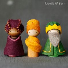 Sweet and Simple Peg Doll Nativity by BeetleAndFern on Etsy - Quilting, Patchwork, Sewing, Gifts & Crafts - Lol dolls Nativity Crafts, Christmas Nativity, Felt Christmas, Christmas Ornaments, Nativity Peg Doll, Christmas Bells, Felt Ornaments, Cork Crafts, Christmas Projects