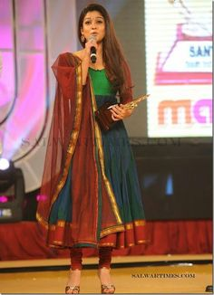"""Nayanthara is not only known for her looks, she is one of the best dressed actress. Here is a list of """"Top 11 Anarkali Looks by Nayanthara"""". Designer Anarkali Dresses, Designer Party Wear Dresses, Kurti Designs Party Wear, Indian Designer Outfits, Party Dresses, Salwar Neck Designs, Kurta Designs Women, Dress Neck Designs, Saree Blouse Designs"""