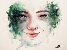 Barbora Klapalová  Green happiness, portrait of young woman  #watercolor #watercolorpainting #portrait