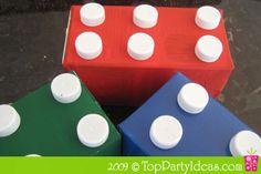 Lego Party Centerpiece using Recycled Milk Cartons Milk Carton Crafts, Milk Cartons, Lego Party Supplies, Kids Party Centerpieces, Lego Birthday Party, Birthday Parties, Kids Party Themes, Party Ideas, Lego Club