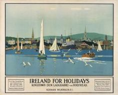 Irish Art Travel Poster, Dun Laoghaire Kingston, County Wicklow, Ireland, by Norman Wilkinson 16 Train Posters, Railway Posters, Sequoia National Park California, Visit Cuba, Original Travel, Nostalgia, Irish Art, Europe, Vintage Travel Posters