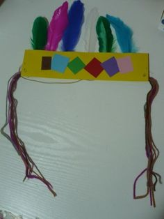 Art Indian Headband for Native Americans lesson during Thanksgiving october-november