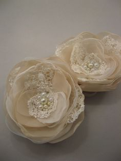Bridal lace flowers Wedding Hair Accessory hairpiece by LeFlowers, $39.00