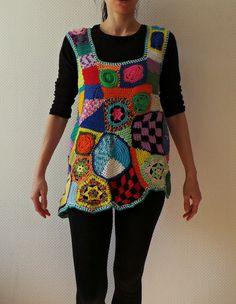 Túnica crochet Freeform arte patchwork multicolor por GlamCro