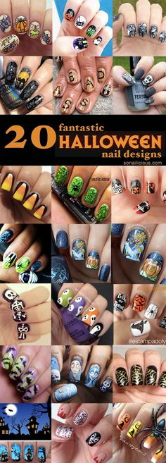The 20 Halloween nail designs presented today are done by SoNailicious readers. From cute Halloween nails to scary, all great nail designs in one place... |...for more makeup, beauty, and nail art tips and ideas go to www.sparkofallure.com