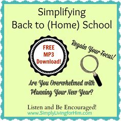 Simplifying Back to (Home) School FREE Come and be encouraged! School Plan, School Days, Back To School, School Stuff, The Fresh, Fresh Start, Back To Home, Home Schooling, Bible Lessons