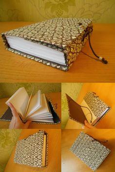 Encuadernación artesanal de libro. Tapas de caja de zapatos forrada con papel especial de mezcla con algodón. Papel de cubierta y papel artesano interior de http://www.parapapel.com/