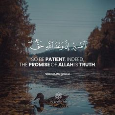 """""""So be patient. Indeed, the promise of Allah is truth. Hadith Quotes, Allah Quotes, Muslim Quotes, Arabic Quotes, Hindi Quotes, Qoutes, Life Quotes, Beautiful Quran Quotes, Quran Quotes Inspirational"""