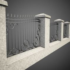 3d wrought iron fence metal model House Fence Design, Front Gate Design, Window Grill Design, Railing Design, Garden Design, Rod Iron Fences, Wrought Iron Fences, Iron Fence Panels, Iron Fence Gate