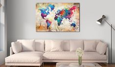Decorative pinboard - World Map: Urban Style . Beautiful cork maps by GLIX World Map Wall Art, Map Art, Cork Map, Rooms Home Decor, Wall Art Pictures, Living Room Art, Urban Fashion, The Ordinary, Screen Printing
