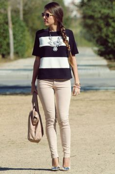 Striped top, statement necklace, blush skinnies and silver cap toe pumps