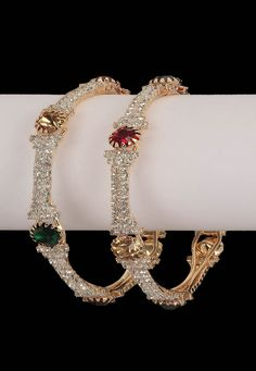 #Maroon, #Green and #White Stone Studded #Bangles @ $22.73