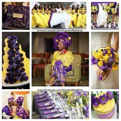 Nigerian wedding purple and yellow inspiration board