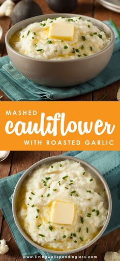 This healthy recipe for Skinny Roasted Garlic Mashed Cauliflower is pretty much perfect. & only is it completely delicious and super low cal, it is a breeze to whip together and makes the perfect side dish to any meal, including Thanksgiving dinner! Garlic Mashed Cauliflower, Roasted Cauliflower, Califlower Mashed Potatoes, Roast Cauliflower Recipes, Cauliflower Casserole, Keto Side Dishes, Side Dish Recipes, Vegan Keto, Cauliflowers