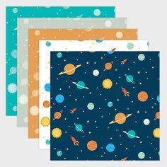 SOLAR SYSTEM PACK ONE: This pack features 5 versions of my original childrens style solar system pattern. This download will include 5 high