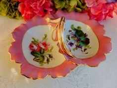 Beautiful Antique Haviland Limoges Porcelain Hand Painted Divided Dish Gold Gild
