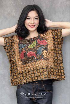 Batik Amarillis made in Indonesia Batik Blazer, Blouse Batik, Batik Dress, Kimono, Batik Fashion, Fashion Sewing, Diy Fashion, Lolita Fashion, Fashion Dresses