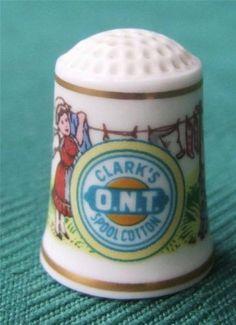Franklin Mint Clark's Spool Cotton Thimble -- Porcelain - Advertising - 1980