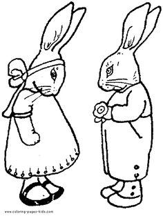 Classic Easter Bunnies colouring sheet