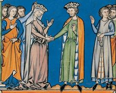 Medieval art work illustrating the fashions of the 13th century.