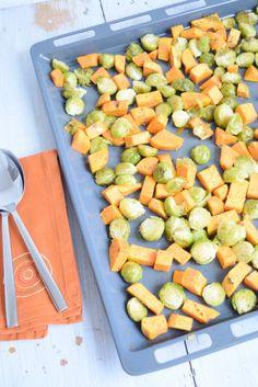 Gerösteter Rosenkohl mit Süßkartoffeln