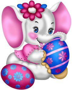 Photo Elephant, Dumbo The Elephant, Happy Elephant, Cartoon Elephant, Cute Elephant, Easter Drawings, Cute Drawings, Happy Easter, Easter Bunny