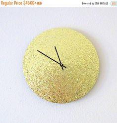 Sale, Glitter Wall Clock, Trending Art, Unique Wall Clock, Gold Clock, Unique Wall Clocks, Home and Living, Decor & Housewares, Home Decor,